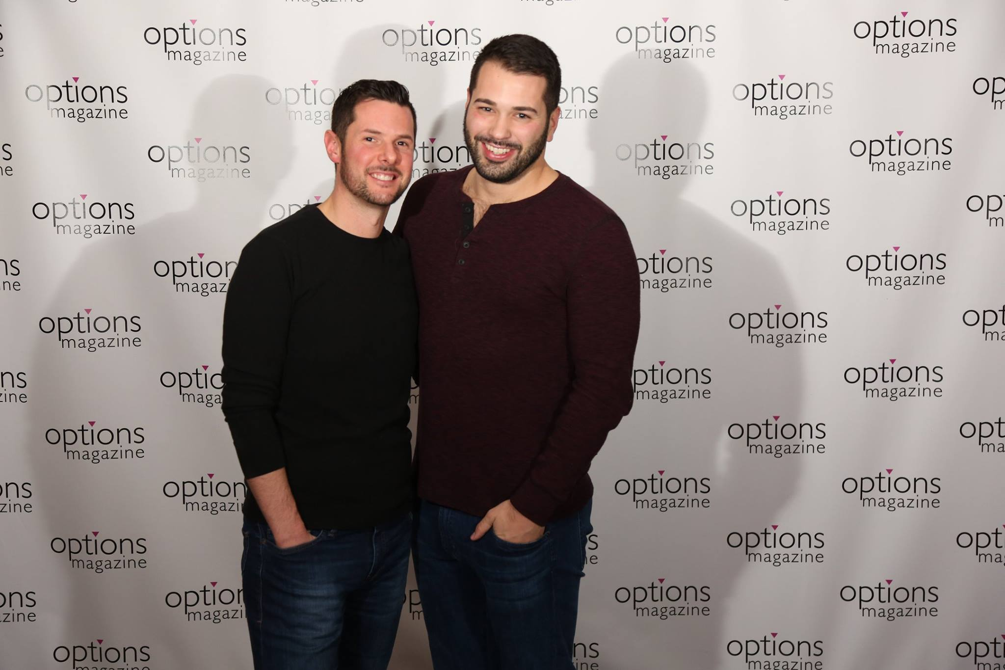 two men in front of Options logo